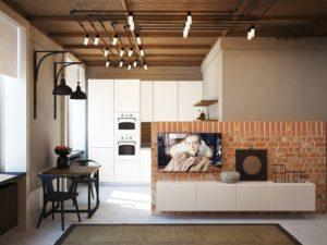 Дизайн лофт интерьера однокомнатной квартиры